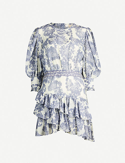 LOVESHACKFANCY Lorelei floral-print cotton-and-silk blend mini dress