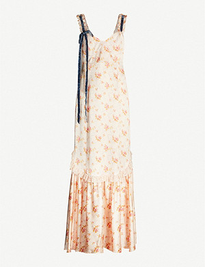 LOVESHACKFANCY Soraya floral-print silk-satin maxi dress