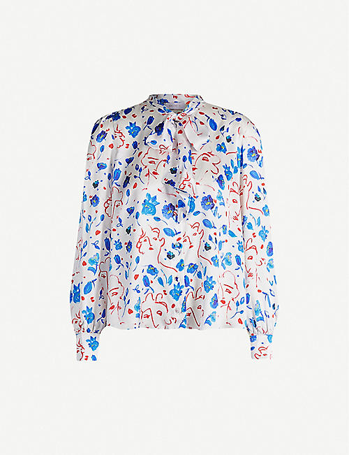 SEREN Candice graphic-print silk-satin blouse
