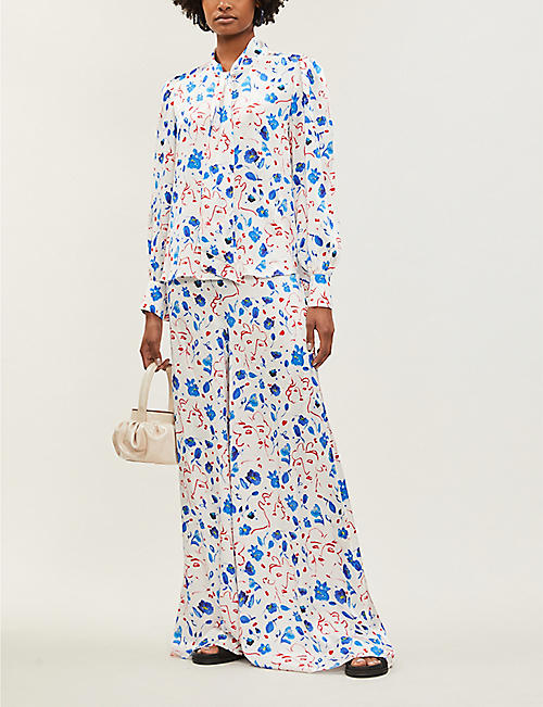 SEREN Joni floral-print high-rise silk-satin trousers