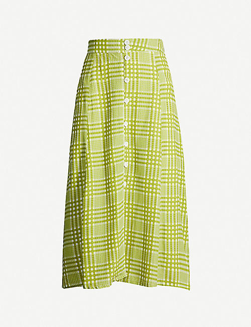 FAITHFULL THE BRAND Marin checked high-waist rayon midi skirt