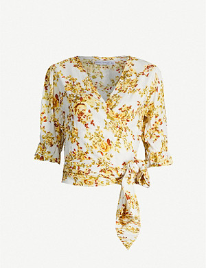 FAITHFULL THE BRAND Mali floral-print rayon wrap top