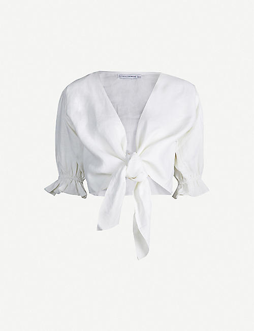 FAITHFULL THE BRAND Jamais V-neck linen wrap top