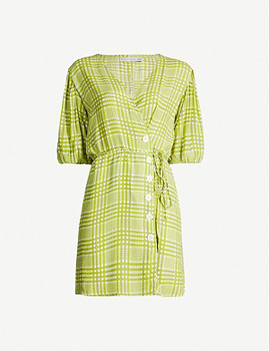 FAITHFULL THE BRAND Blanco checked rayon mini dress