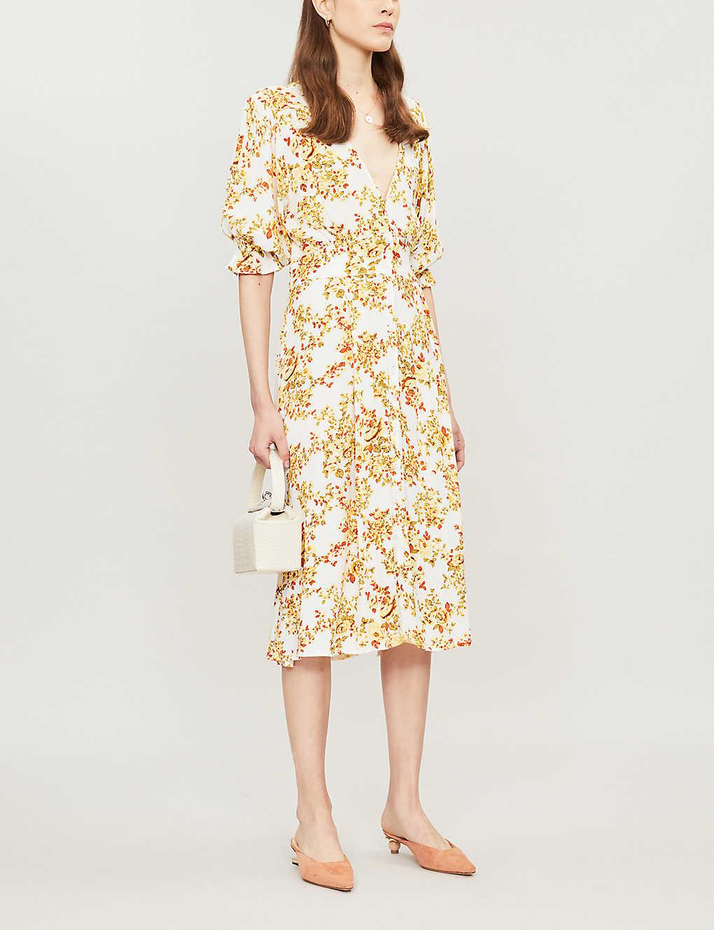 Rafa floral-print rayon midi dress - Goldie floral