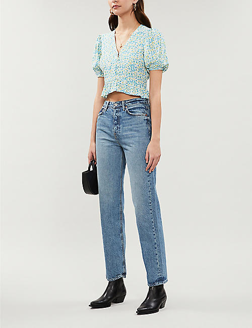 FAITHFULL THE BRAND Mona floral-print rayon crop top