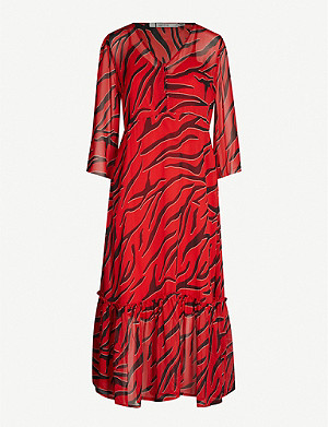 GESTUZ Corin tiger-print crepe midi dress