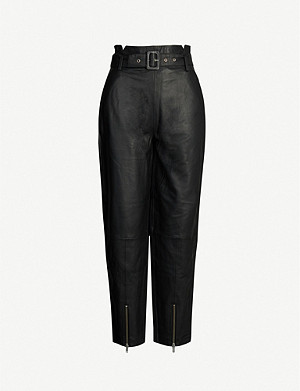 GESTUZ Suri high-rise straight-leg leather trousers