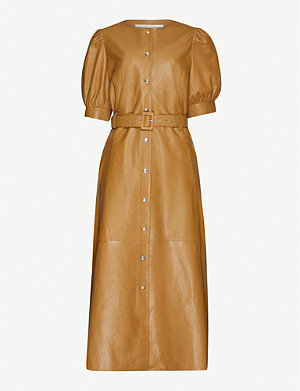 GESTUZ Suri belted leather midi dress