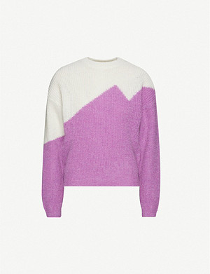 GESTUZ Gallie contrasting-panels knitted jumper