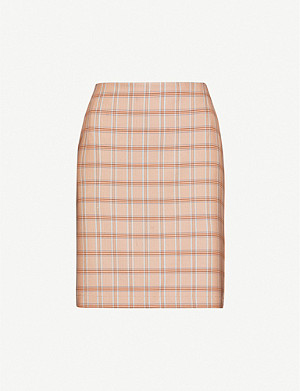 GESTUZ Jin checked woven mini skirt