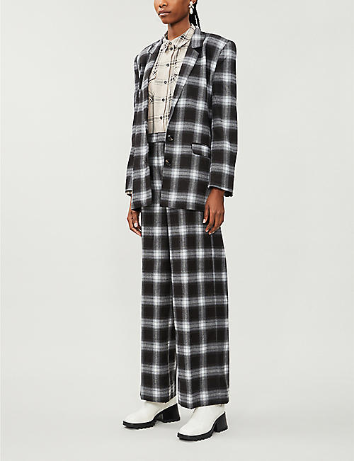 GESTUZ Chloe checked stretch-woven shirt