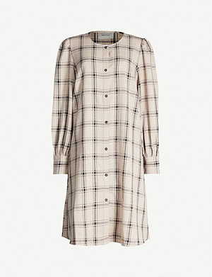 GESTUZ Chloe checked stretch-woven shirt dress
