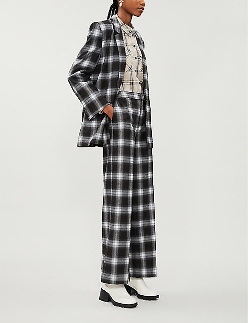 GESTUZ Charlee checked wide-leg stretch-woven trousers
