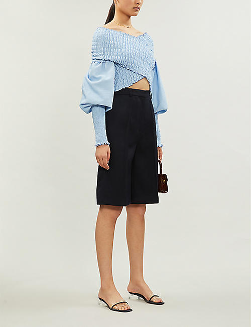 N DUO Off-the-shoulder shirred stretch-crepe top