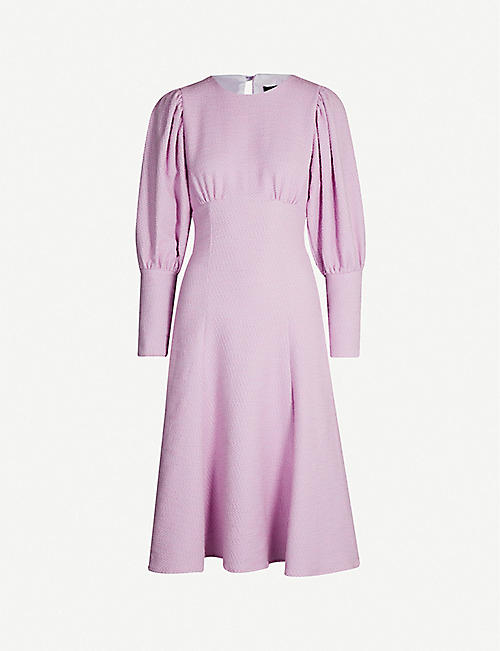 N DUO Violet puff-sleeve cotton-blend midi dress