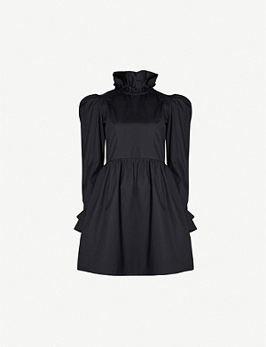 BATSHEVA Prairie puffed-sleeve cotton-poplin mini dress
