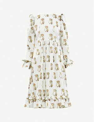 BATSHEVA Batsheva x Holly Hobbie Prairie velvet midi dress