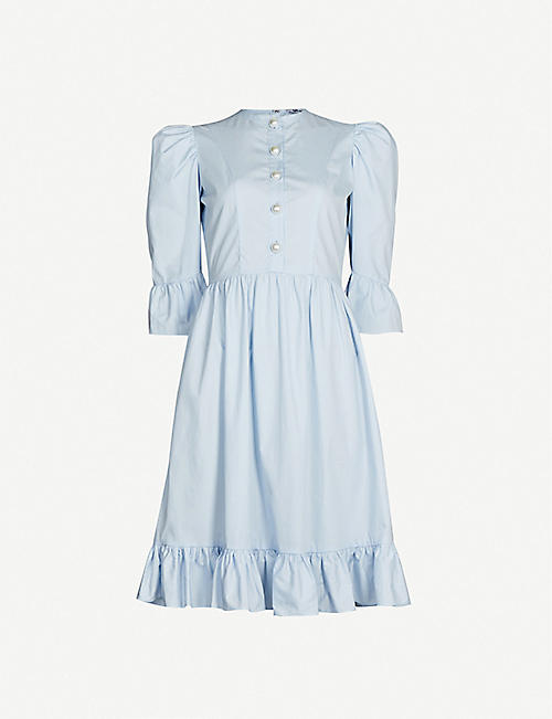 BATSHEVA Prairie puffed-sleeve cotton-poplin dress