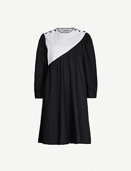 BATSHEVA Contrast-panel cotton-poplin mini dress