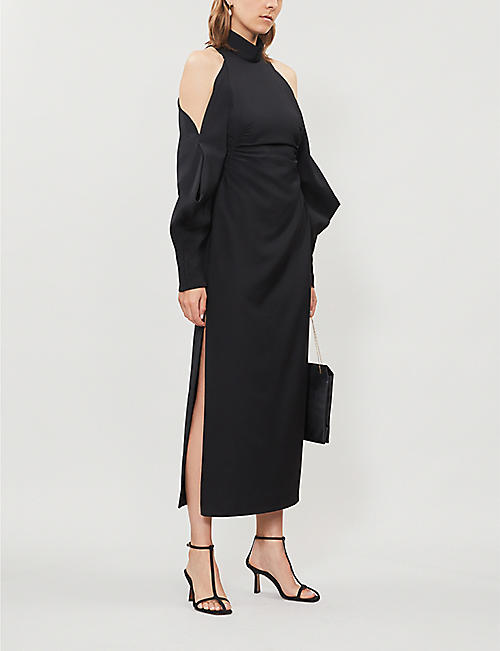 CAMILLA AND MARC Bernstein cold shoulder crepe midi dress