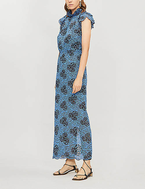 DESIGNERS REMIX Veronica high-neck lace maxi dress