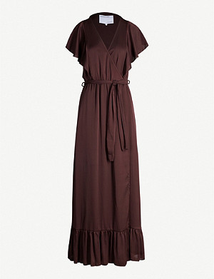 DESIGNERS REMIX Elda ruffled crepe wrap dress