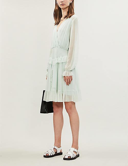 DESIGNERS REMIX Mindy V-neck chiffon mini dress