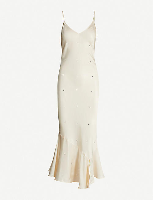 DESIGNERS REMIX Kevin polka-dot satin midi slip dress