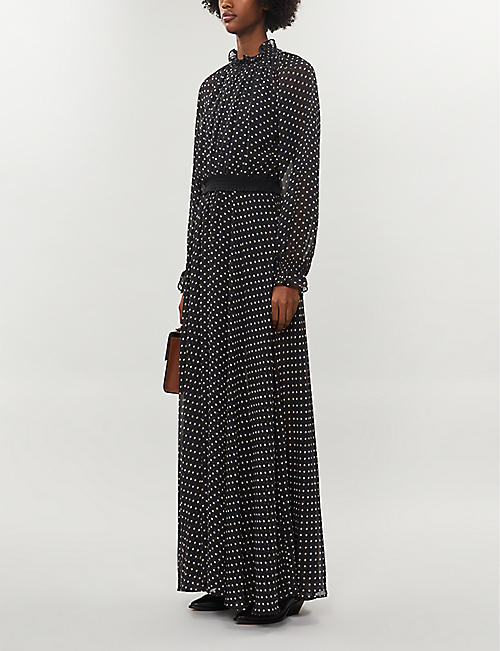DESIGNERS REMIX Trunte high-neck ruffled polka dot crepe maxi dress