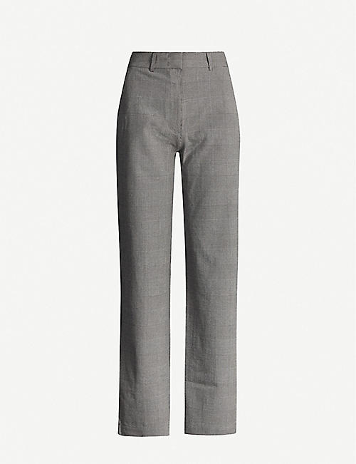 DESIGNERS REMIX Radley high-rise checked woven straight-leg trousers