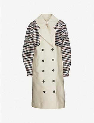 DESIGNERS REMIX: Hailey checked double-breasted recycled cotton-blend trench coat