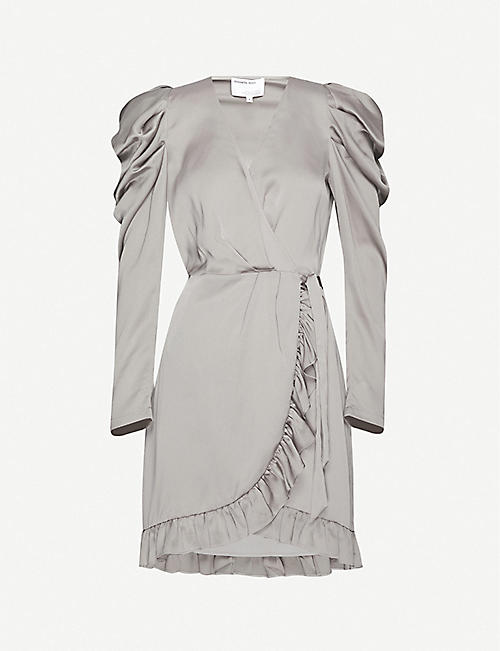 DESIGNERS REMIX Lauren ruched draped woven mini dress