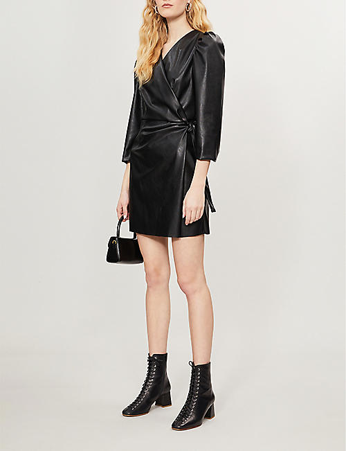 DESIGNERS REMIX Mari wrap-over faux-leather mini dress