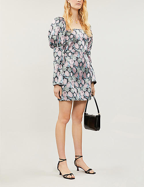 OLIVIA ROSE THE LABEL Ophelia puffed-sleeve floral-print satin-crepe mini dress