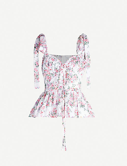 OLIVIA ROSE THE LABEL: Olea floral-print strappy cotton top