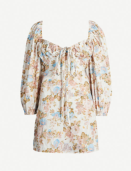 OLIVIA ROSE THE LABEL: Shirley floral-print cotton mini dress