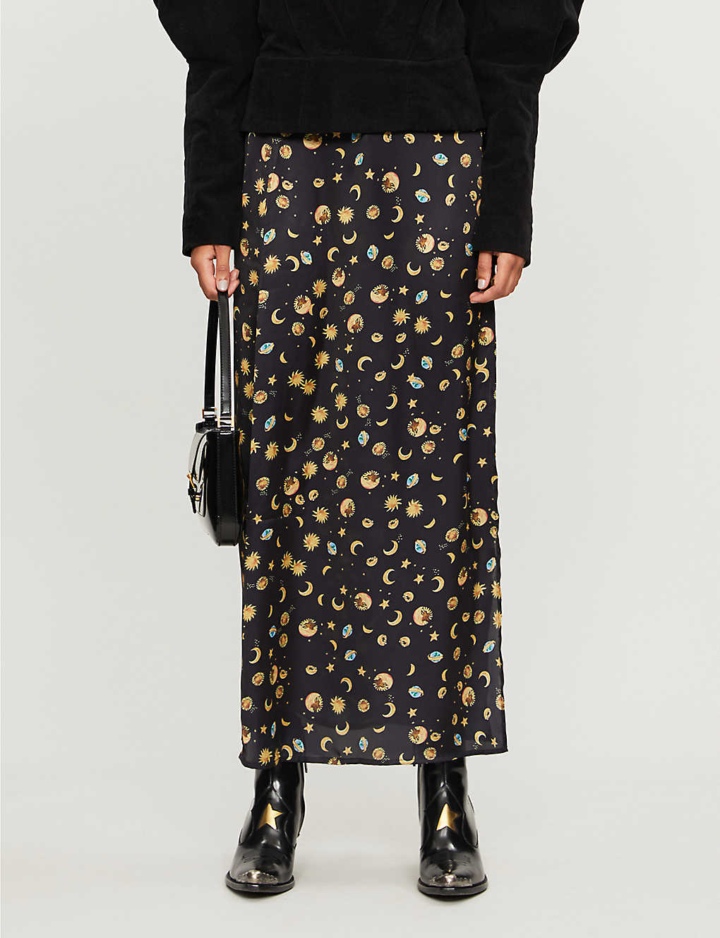 NEVER FULLY DRESSED: Esme high-waist space-print satin midi skirt