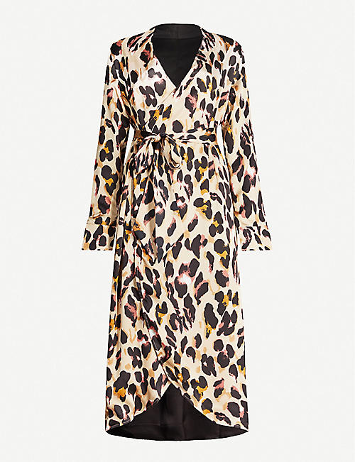 NEVER FULLY DRESSED Leopard-print wrap satin dress