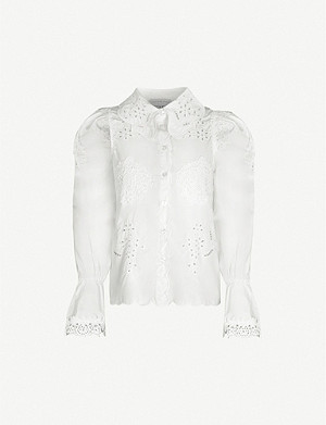 NEVER FULLY DRESSED Sicily broderie anglaise-panelled cotton shirt