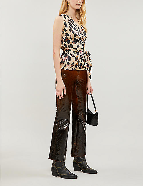 NEVER FULLY DRESSED Leopard-print crepe wrap top