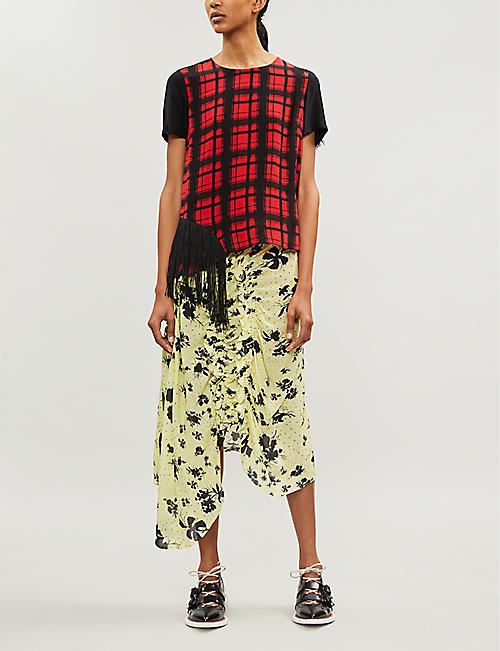 PREEN LINE Yuna floral-print ruffled woven skirt
