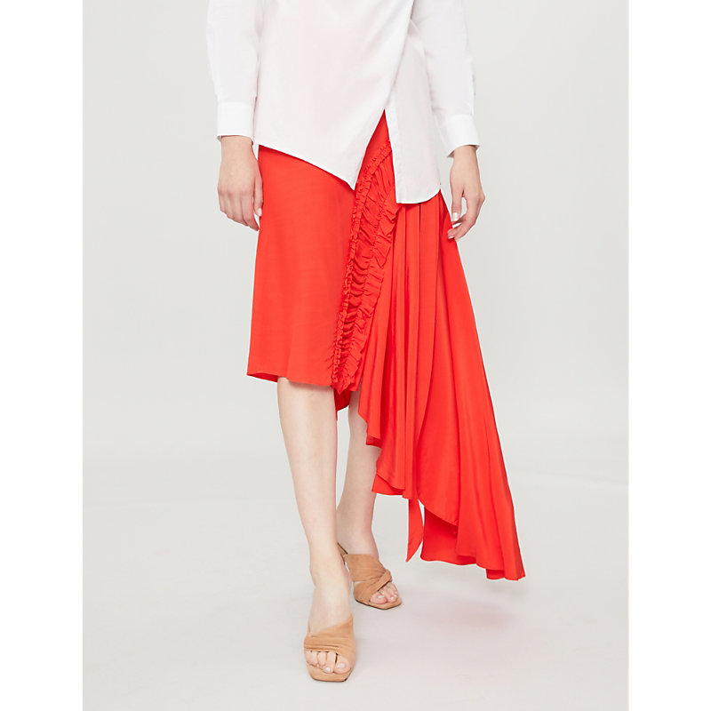 Gracia Asymmetric-Hem Crepe De Chine Skirt, Red