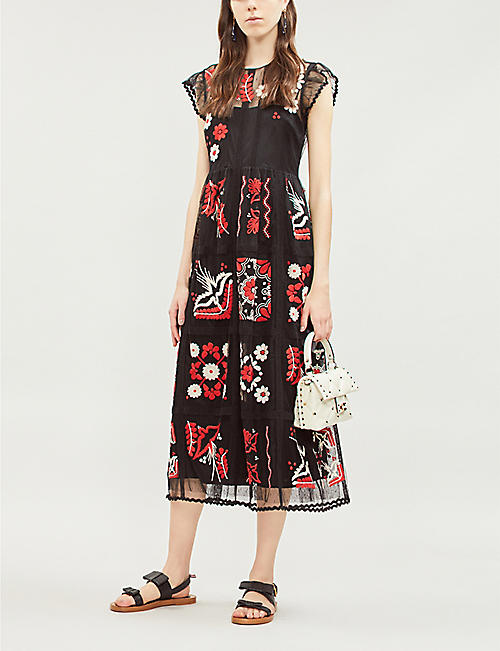 RED VALENTINO Madrame embroidered mesh dress