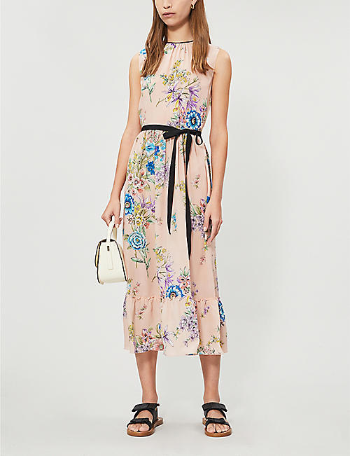 RED VALENTINO Floral-print silk-crepe midi dress