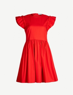 RED VALENTINO Ruffled cotton-blend poplin dress