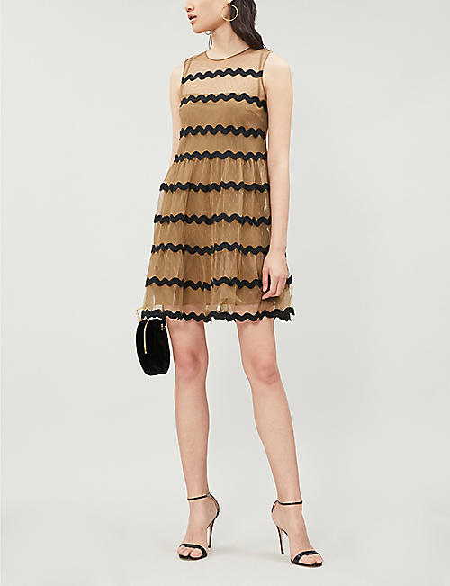 RED VALENTINO Contrast-trim mesh dress