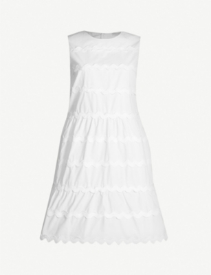 RED VALENTINO Scalloped-panel cotton-crepe dress