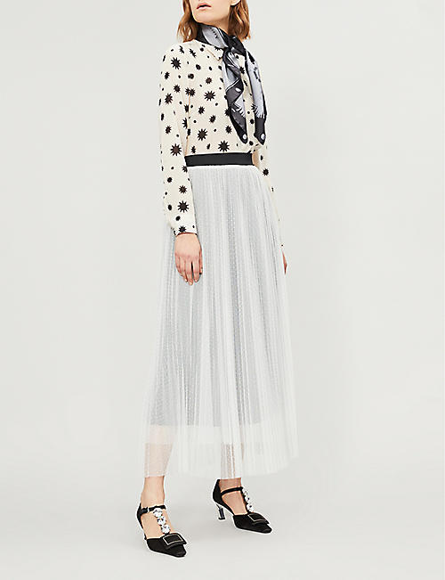 RED VALENTINO Frilled star-print silk-crepe shirt
