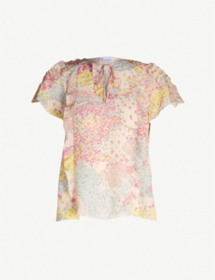 RED VALENTINO Ruffled star-print silk top